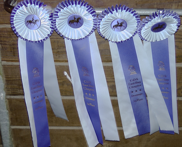Ribbons from CDS East Bay Dressage Show